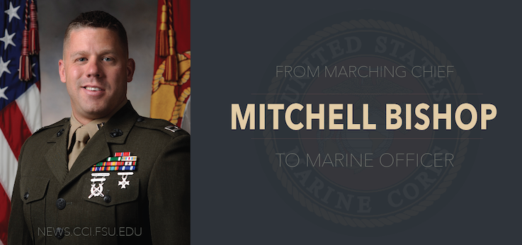 Header image for From Marching Chief to Marine Officer– Meet COMM Alum Mitch Bishop