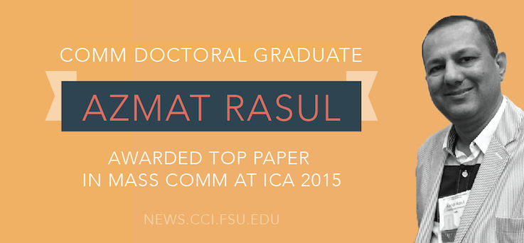 Header image for Doctoral graduate awarded Top Paper in Mass Communication at ICA 2015