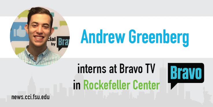 Header image for Advertising student Andrew Greenberg interns at Bravo TV