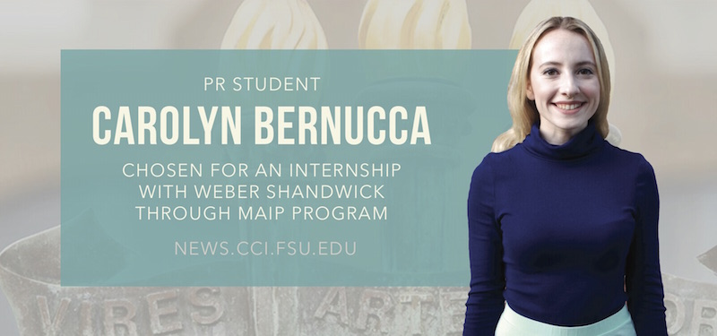 Header image for PR Student Carolyn Bernucca to Intern with Weber Shandwick