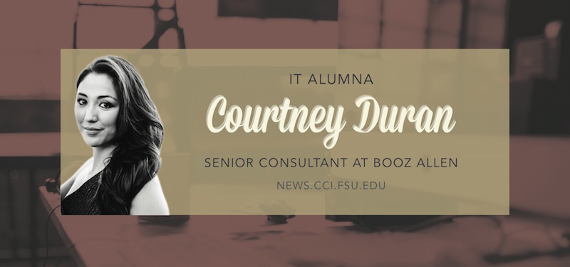 Header image for Alumna Courtney Duran Finds Calling as Senior Consultant at Booz Allen Hamilton