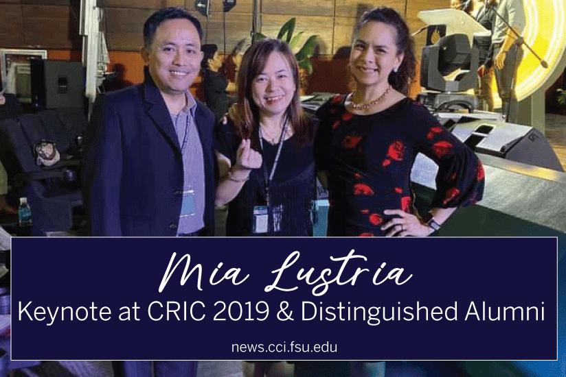 Mia Lustria: Keynote at CRIC 2019 and Distinguished Alumni - Graphic