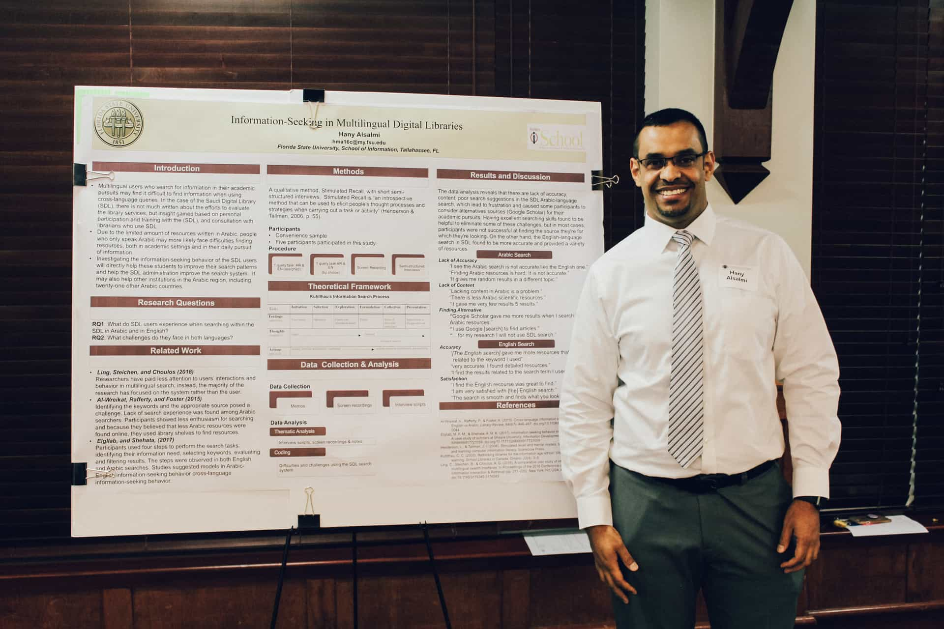 Hany Alsami with his research poster