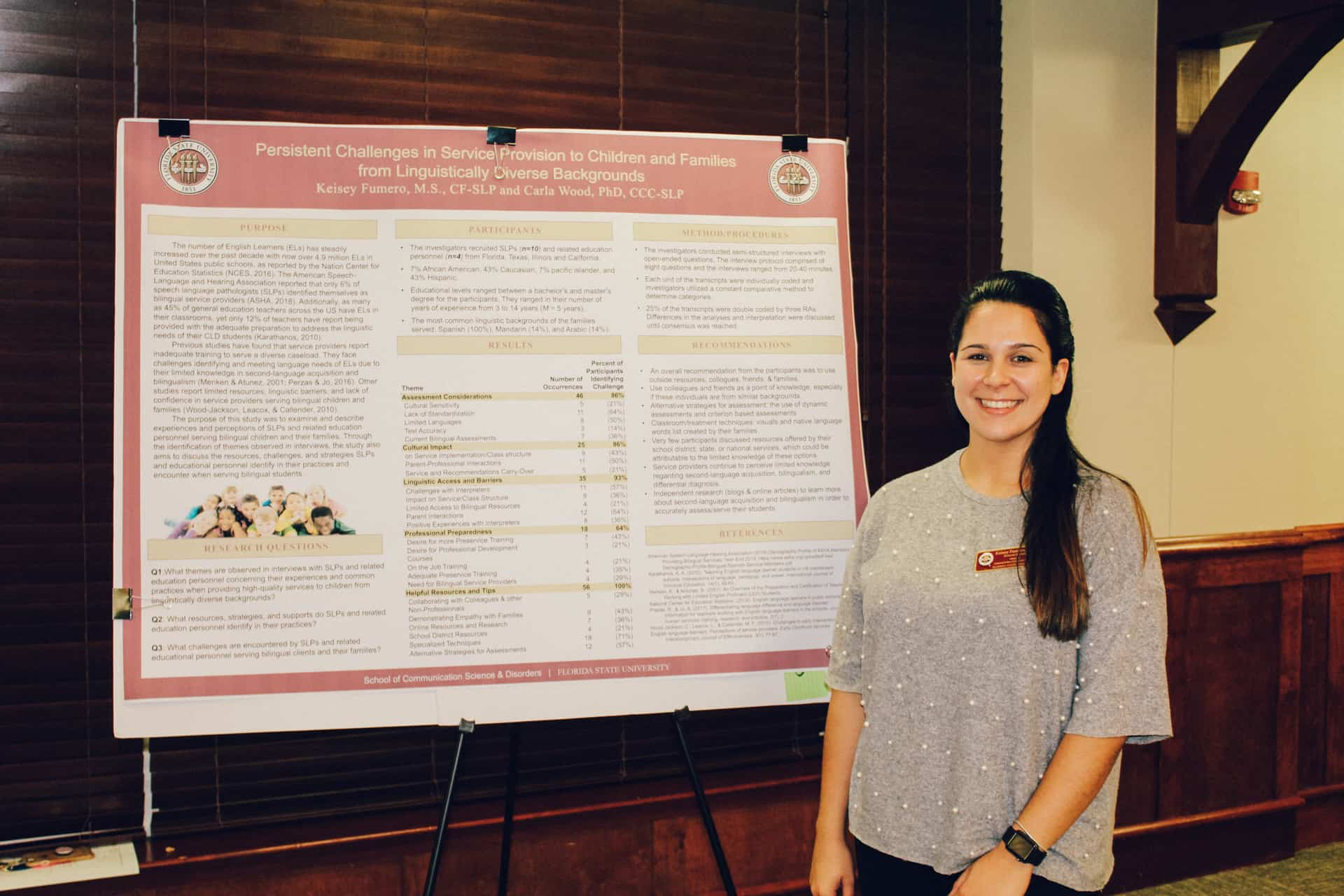 Keisey Fumero with her research poster