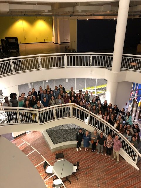 SCSD students and faculty pose for a photo at the TCC Center Innovation during the Kevin Spencer workshop.