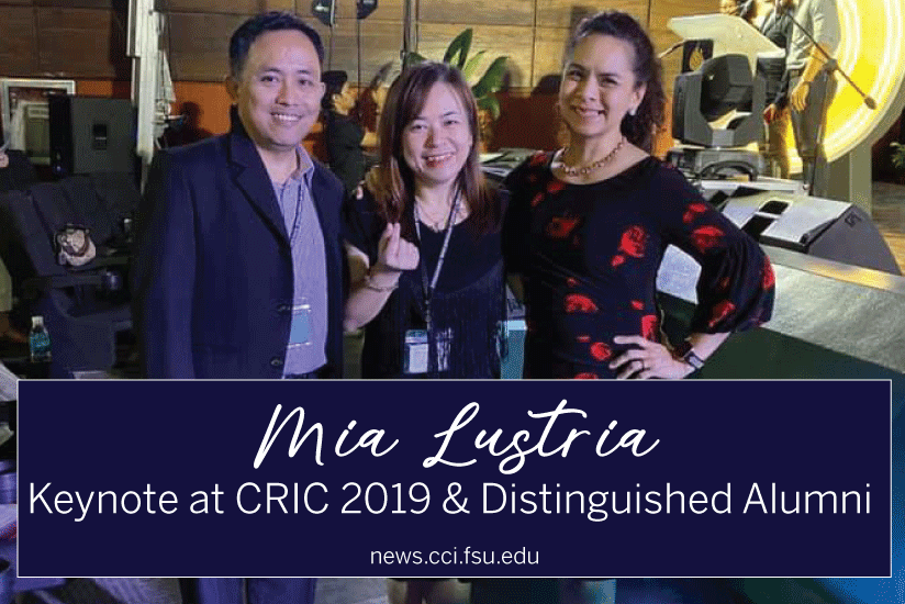 Mia Lustria: Keynote at CRIC 2019 and Distinguished Alumni - Graphic
