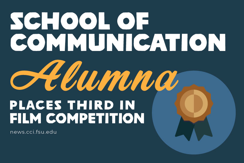 School of Communication Alumna, Rheannah Wynter, places third in film competition, graphic.